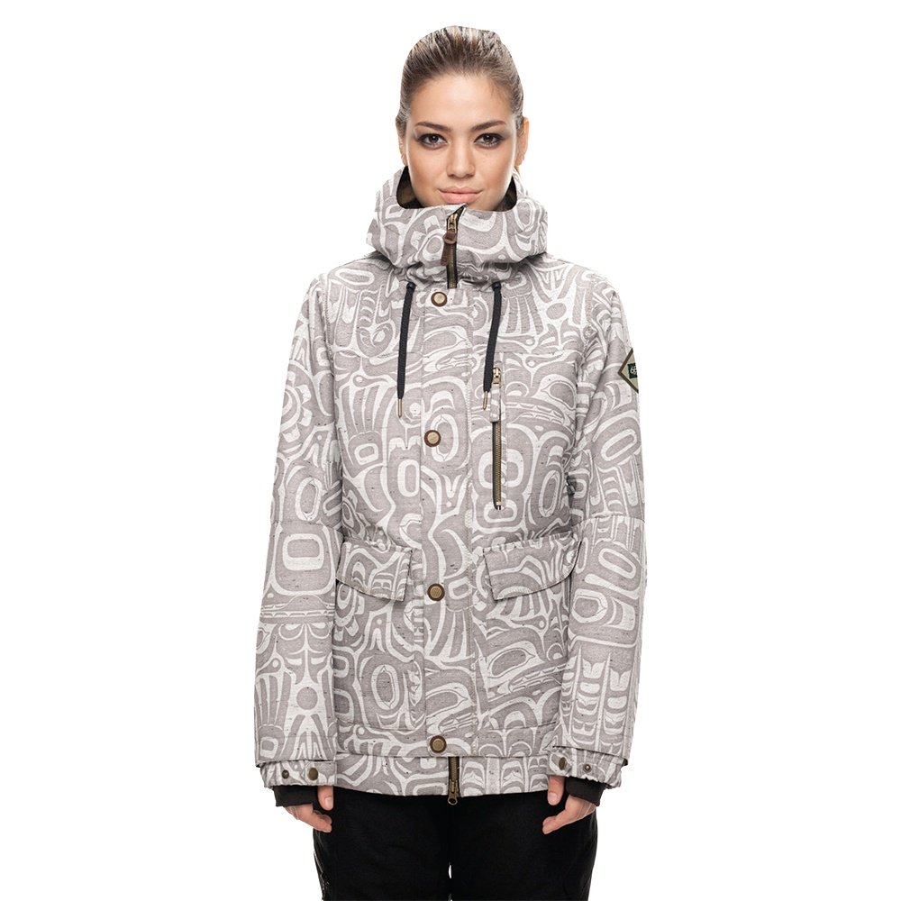 686 Phoenix Insulated Snowboard Jacket - Grey Totem Print