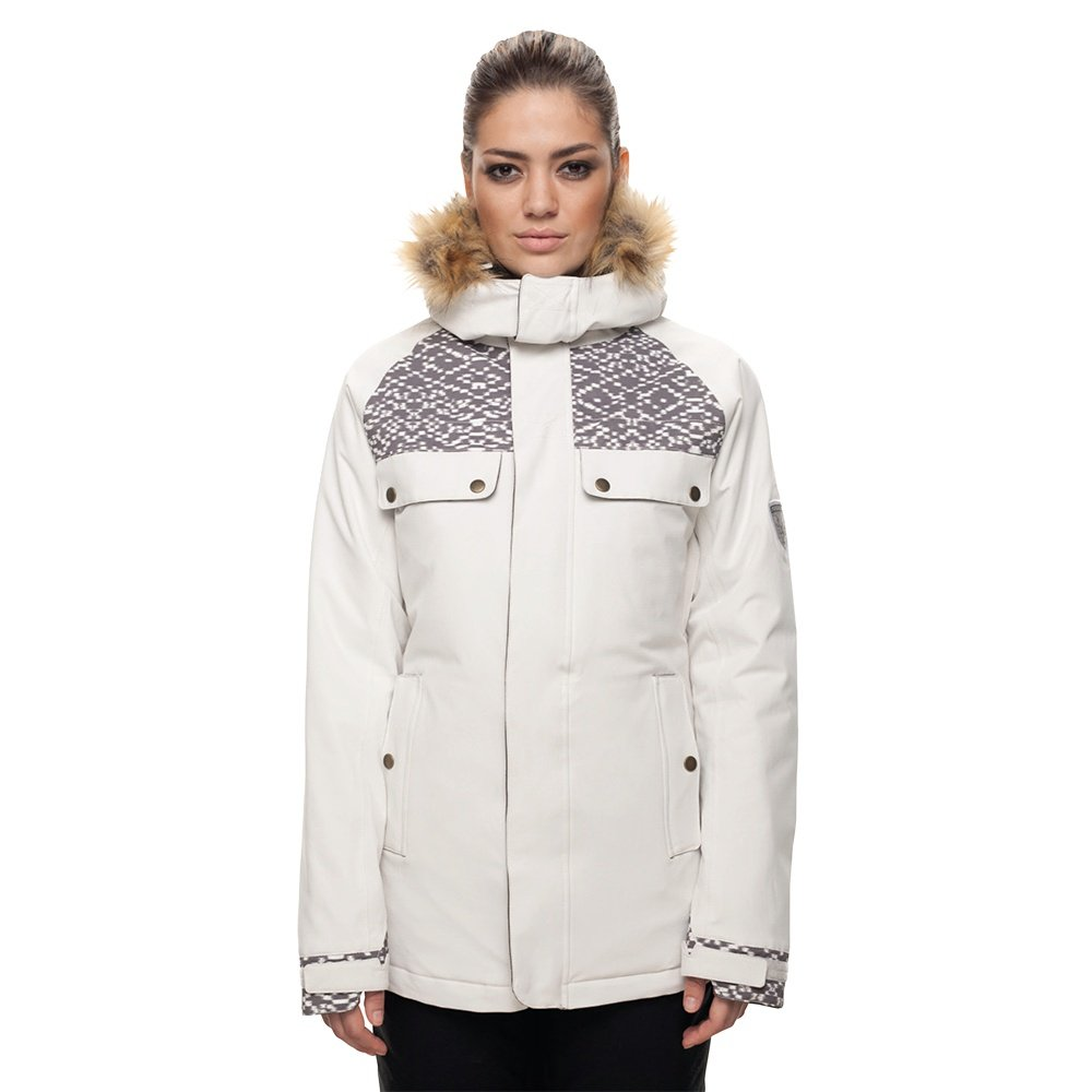 686 Dream Insulated Snowboard Jacket (Women's) - White Weave Print