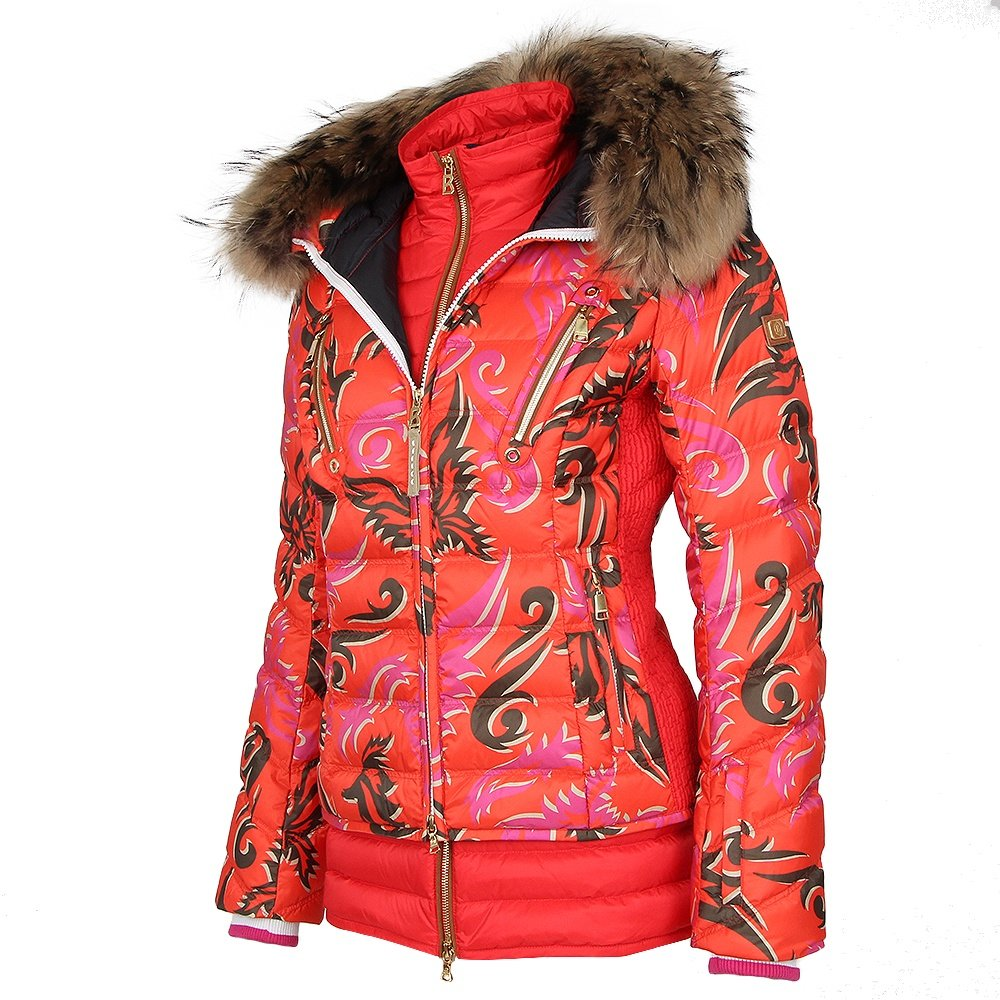 Bogner Calina-D  Ski Jacket with Real Fur (Women's) - Hot Red Print