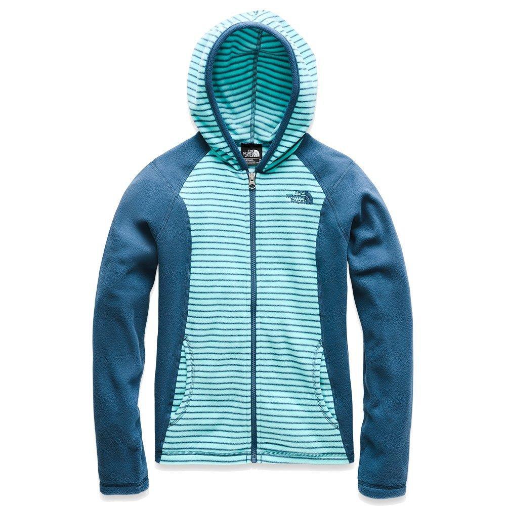 The North Face Glacier Full Zip Hoodie Jacket (Girls') - Mint Blue Multi Thin Stripe
