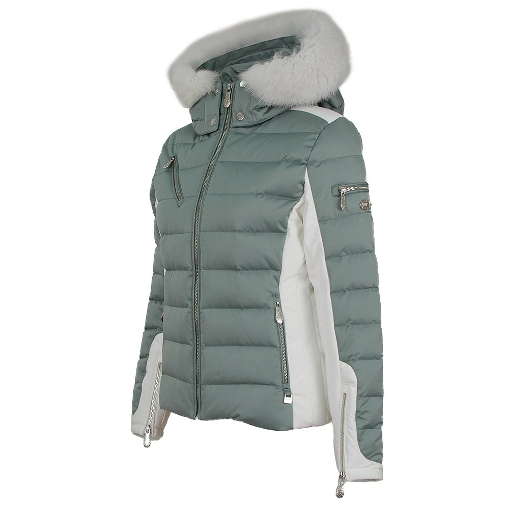 Nils Ula Down Ski Jacket with Real Fur (Women's) - Celedon/White