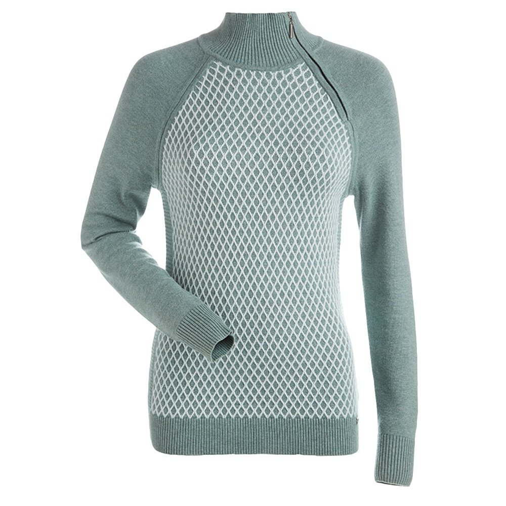 Nils Sigrid Crew Sweater (Women's) - Celedon/White
