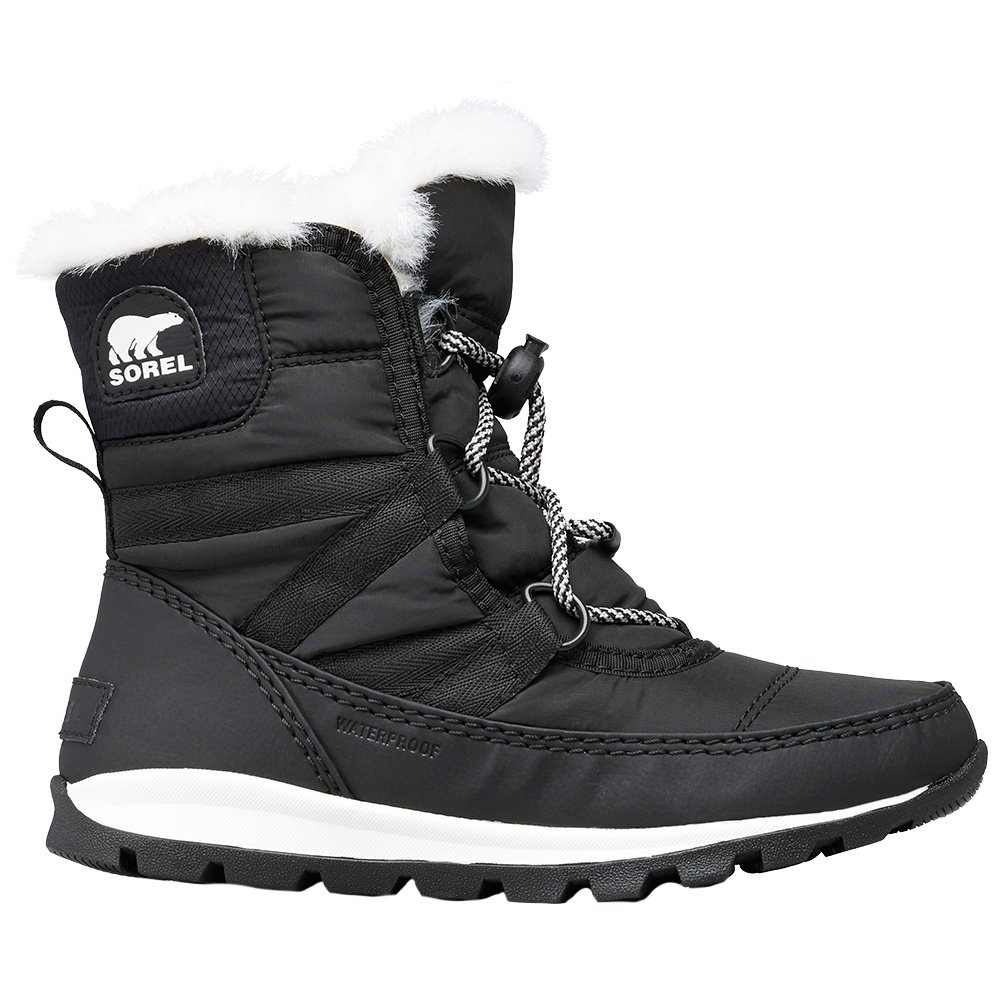 Sorel Whitney Short Lace Boots (Girls') - Black/Sea Salt