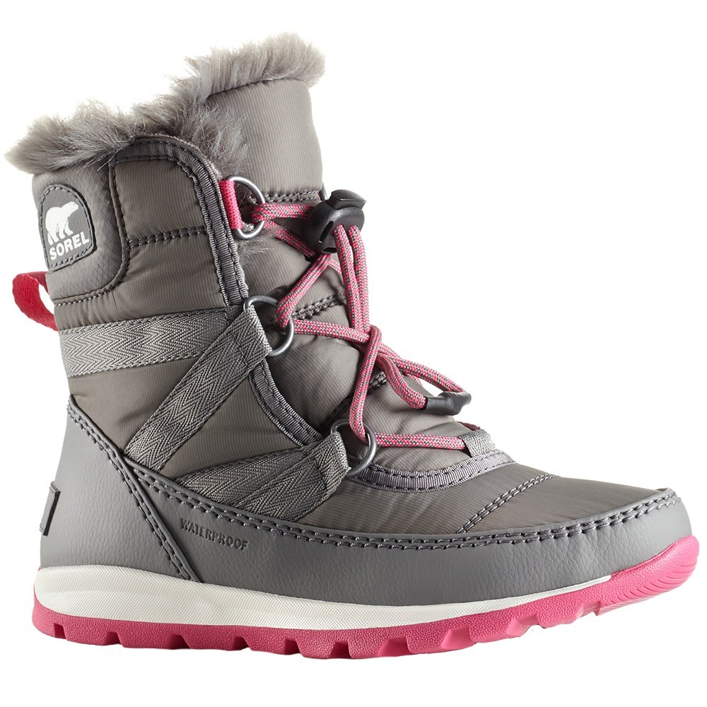 Sorel Whitney Short Lace Boots (Girls') - Quarry/Ultra Pink