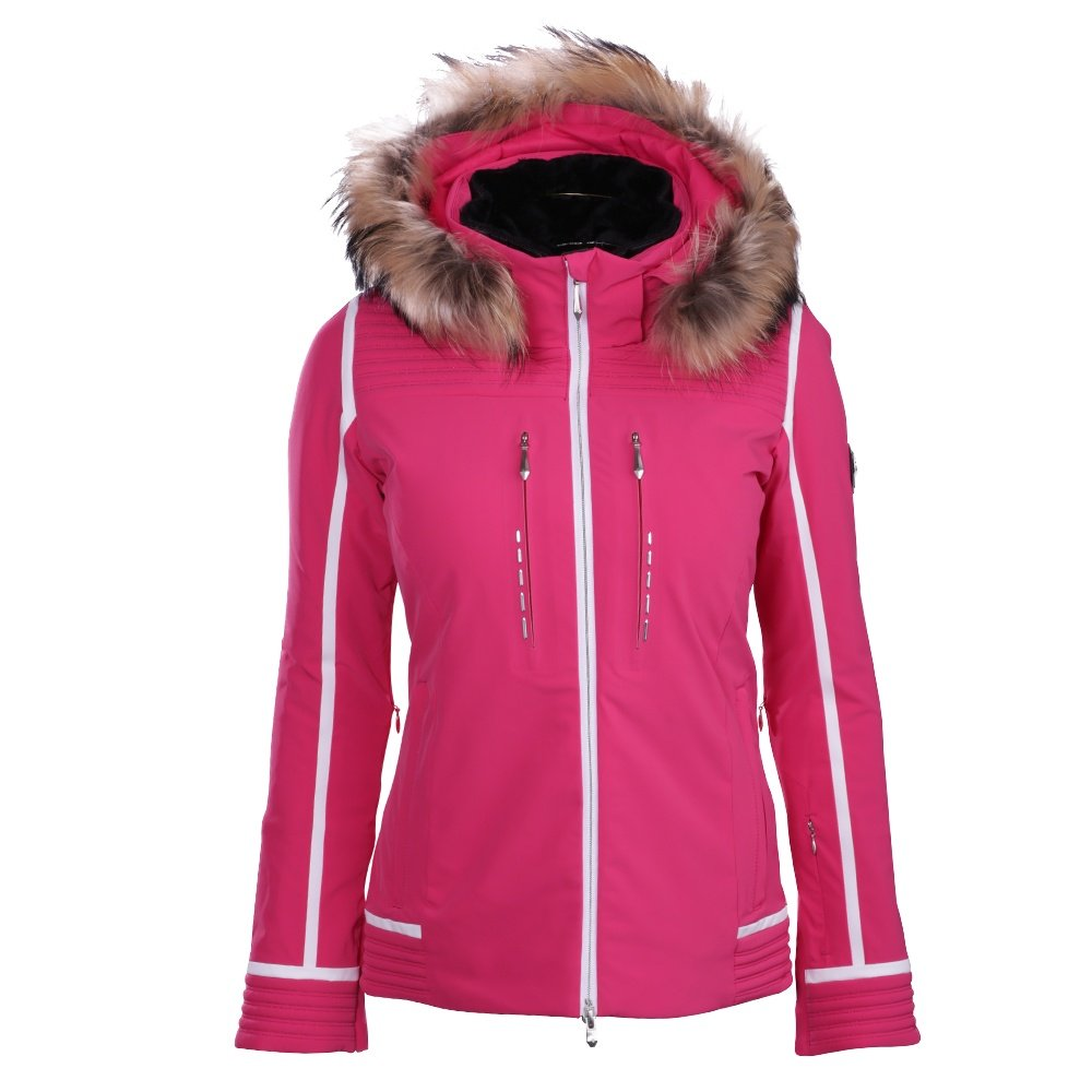 Descente Layla Jacket with Real Fur (Women's) - Crimson Pink/Super White