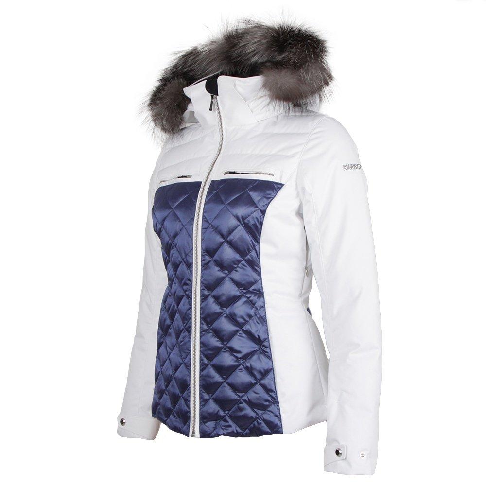 Karbon Pascal Ski Jacket with Real Fur (Women's) - Arctic White/Blue