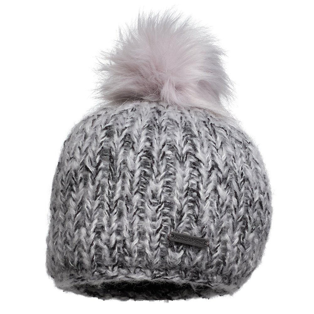 Screamer Madelyn Beanie with Faux Pom (Women's) - White/Charcoal