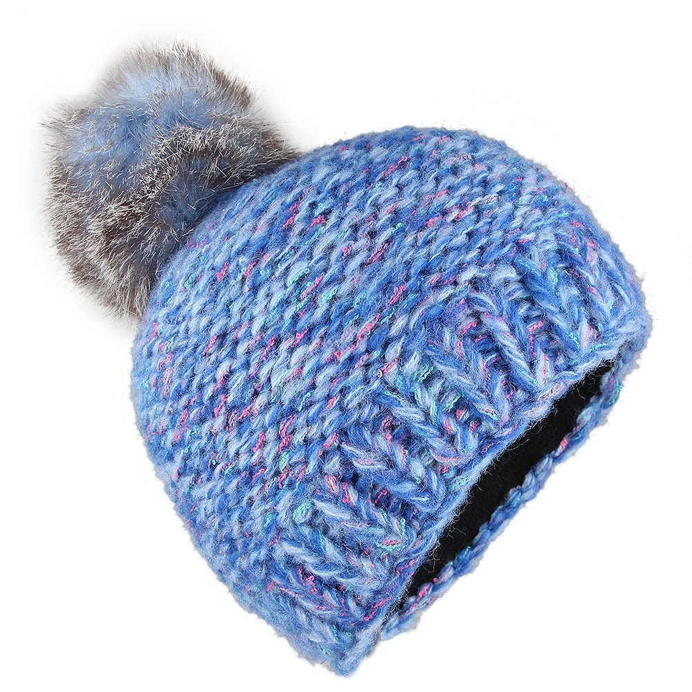 Screamer Milano Beanie with Faux Fur Pom (Kids') - Candy Blue/Rose
