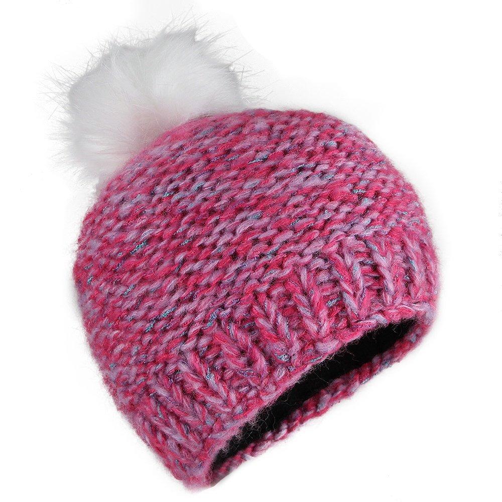 Screamer Milano Beanie with Faux Fur Pom (Kids') - Pink Tweed