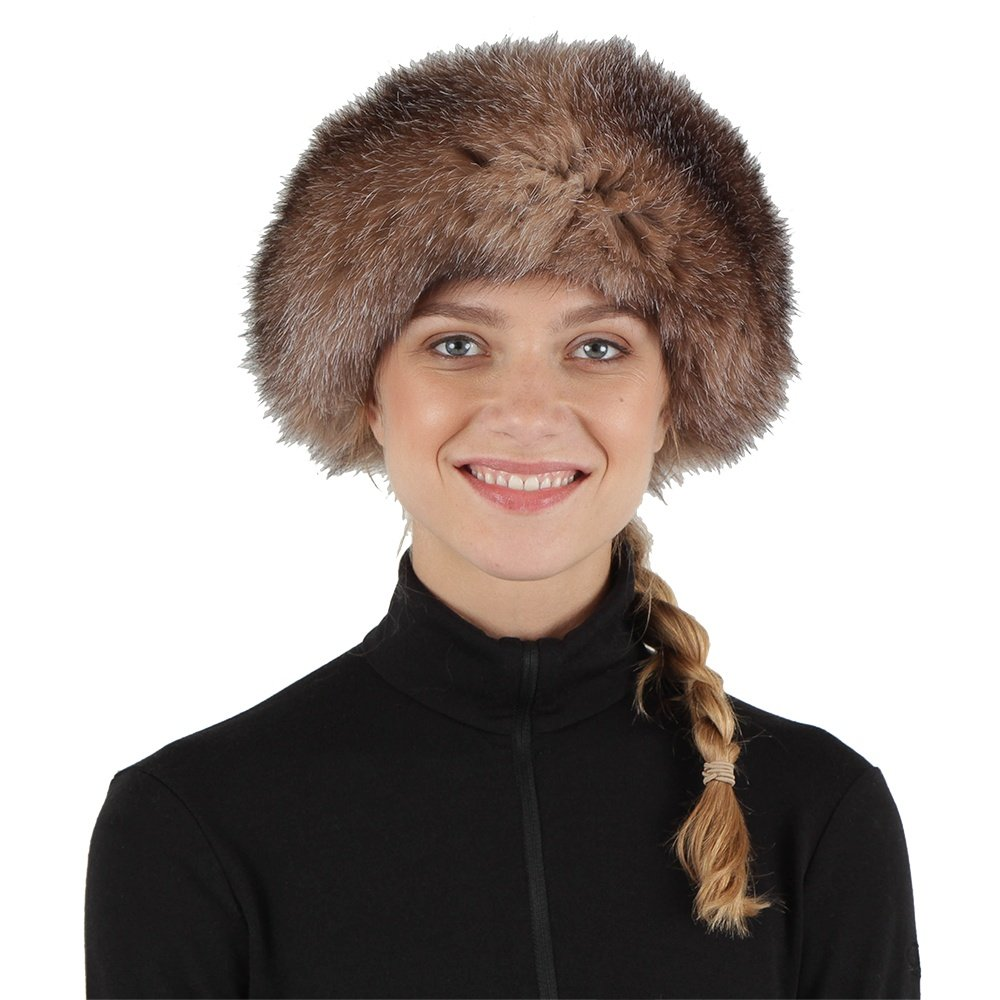 Peter Glenn Leather Hat with Fur Trim (Women's) - Brown