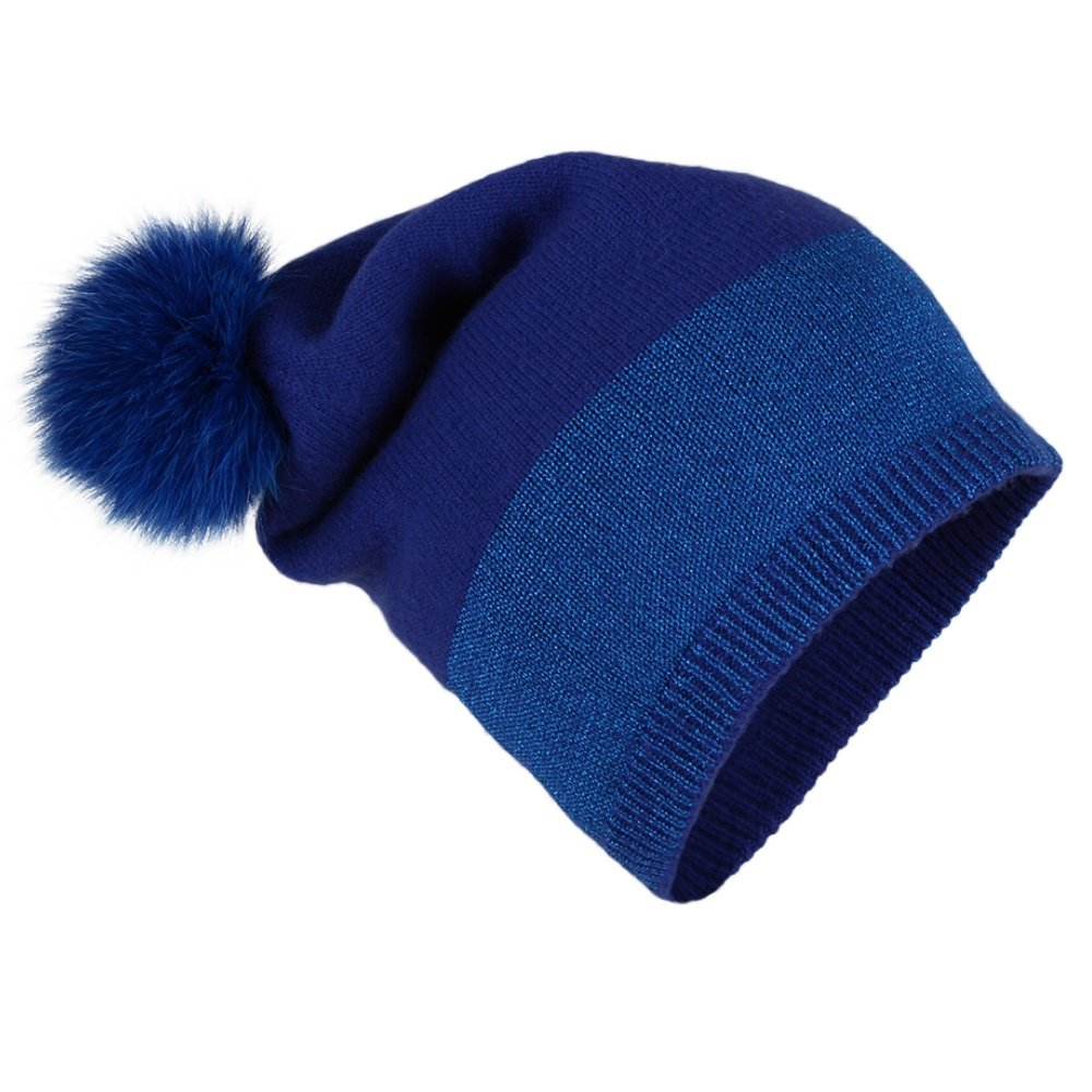 Peter Glenn Wool and Lurex Hat with Fur Pom (Adults') - Blue
