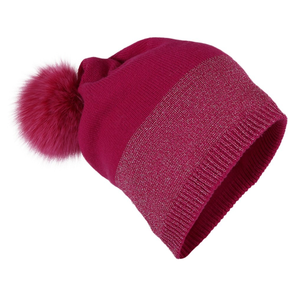 Peter Glenn Wool and Lurex Hat with Fur Pom (Adults') - Fuchsia