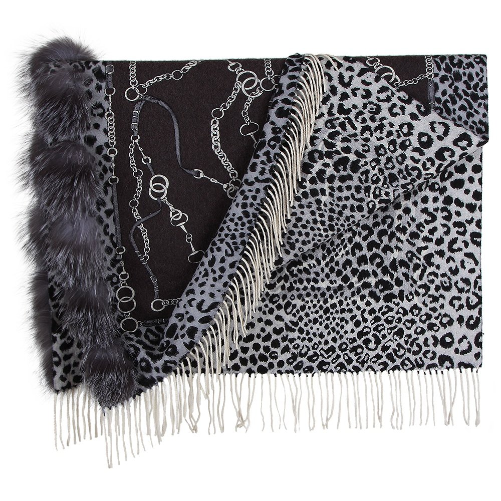 Peter Glenn EQ Reversible Scarf with Fox Fur Poms -