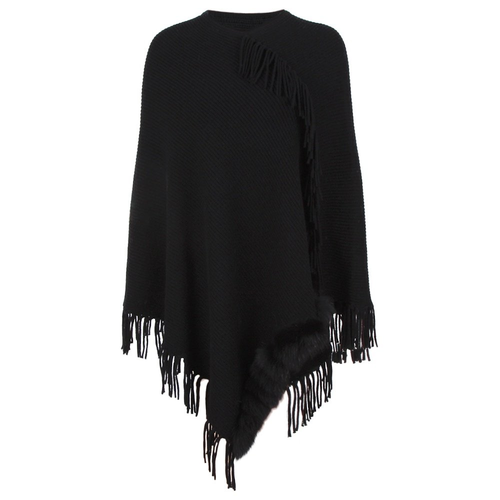 Peter Glenn Wool Cape with Fringe Fox Poms (Women's) - Black