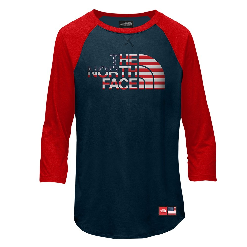 The North Face IC Tri-Blend 3/4 Tee (Boys') - Cosmic Blue/TNF Red