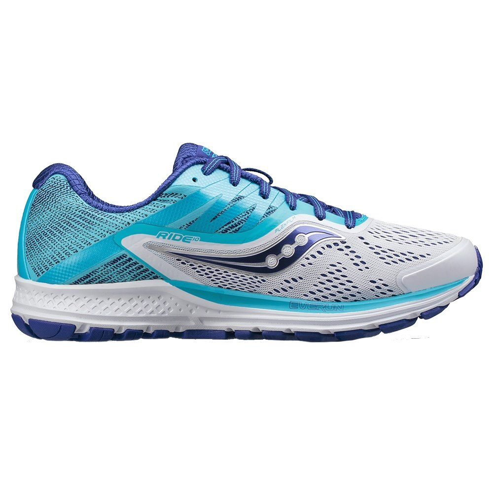 Saucony Ride 10 Running Shoes (Women's) - White/Blue