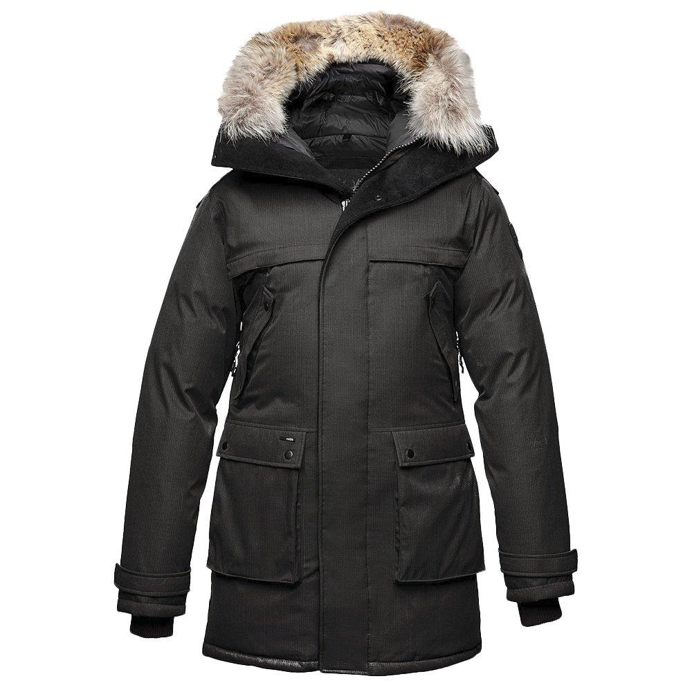 Long black parka coat