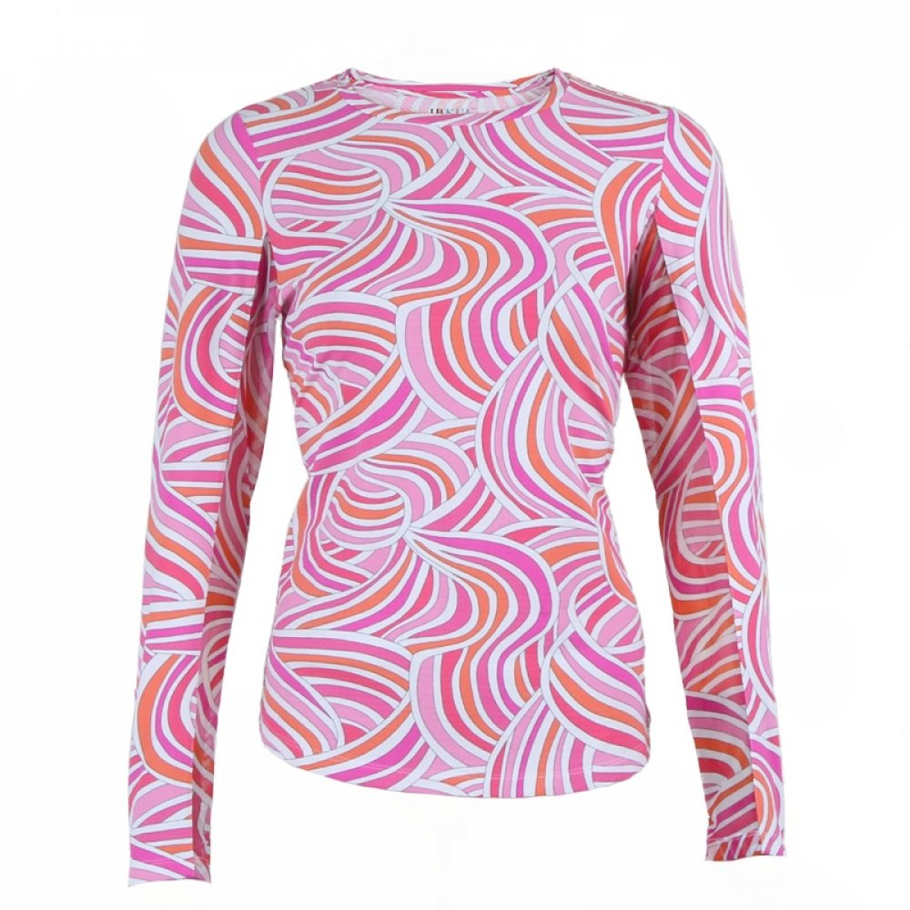 Ibkul Long Sleeve Printed Crew Neck Shirt (Women's) - Liza/Pink Multi