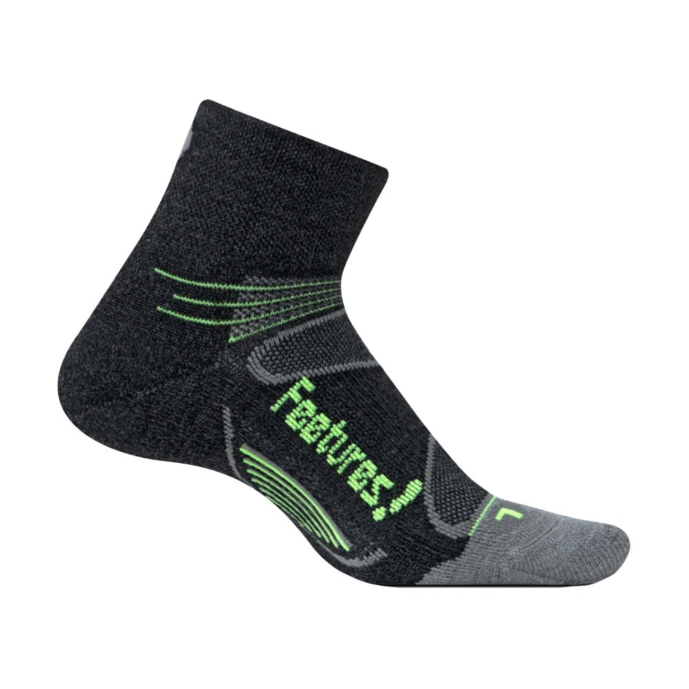 Feetures! Elite Merino+ Wool Quarter Running Socks - Charcoal/Reflector