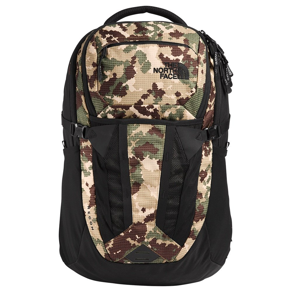 The North Face Recon Backpack (Men's) - Burnt Olive Green Digi Topo Print/TNF Black