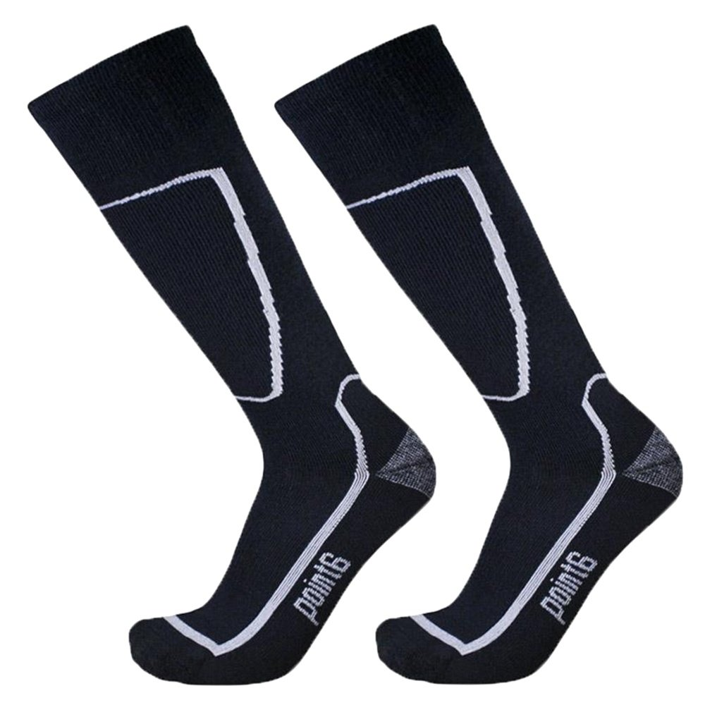 Point6 Medium Weight Ski Sock 2 Pack (Adults') - Black