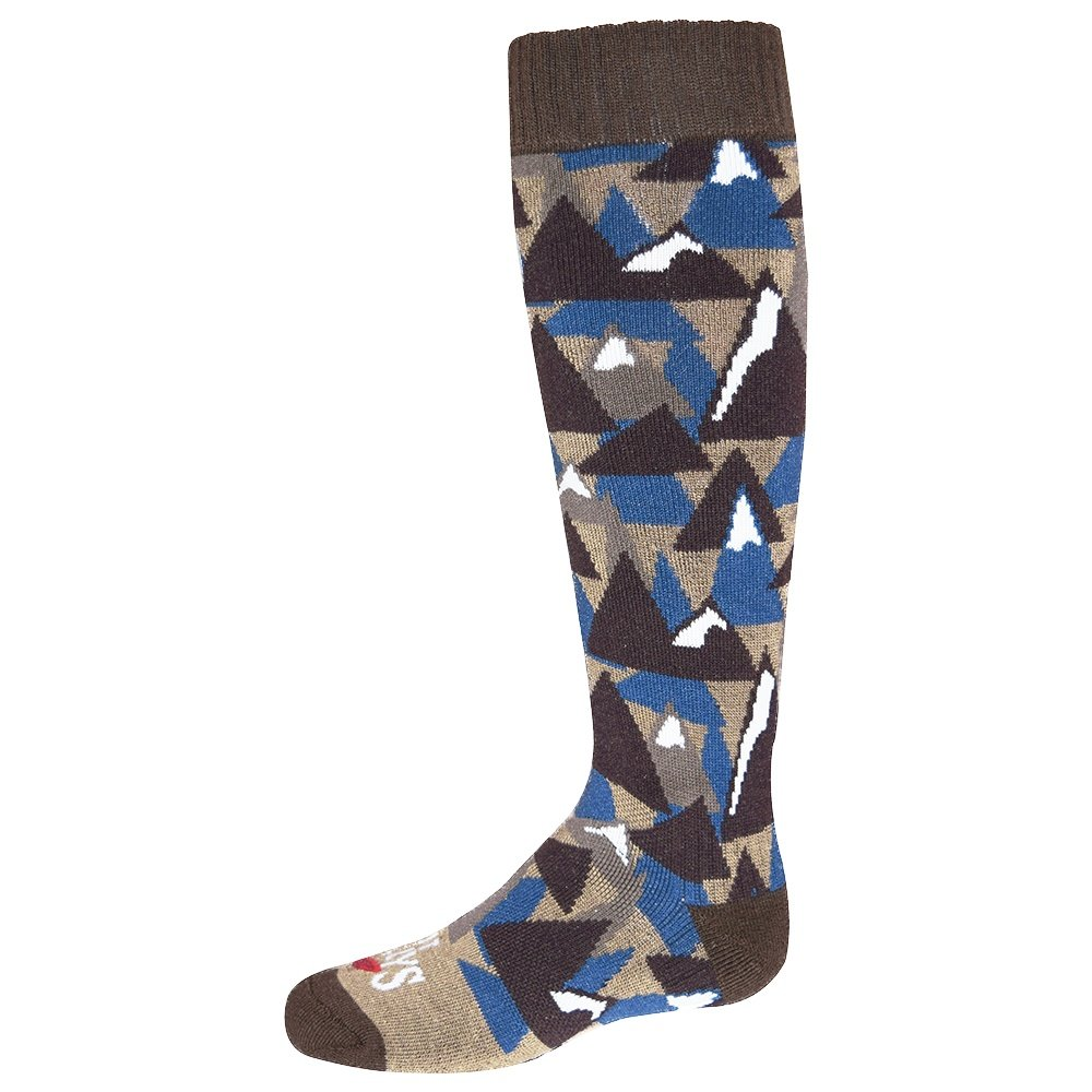 Hot Chillys Mountains Mid Volume Sock (Kids') - Mountains/Brown