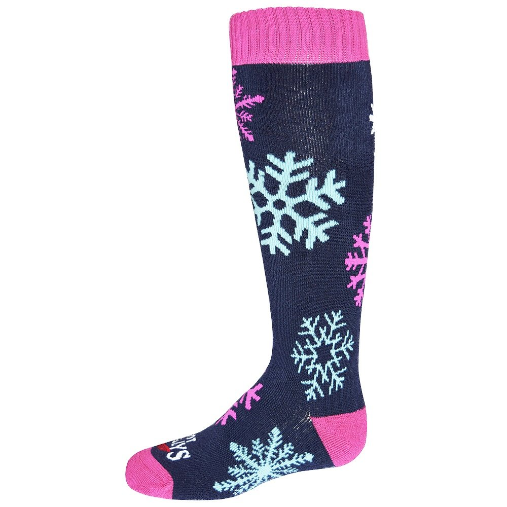 Hot Chillys Snowflakes Mid Volume Sock (Kids') - Snowflakes/Lapis