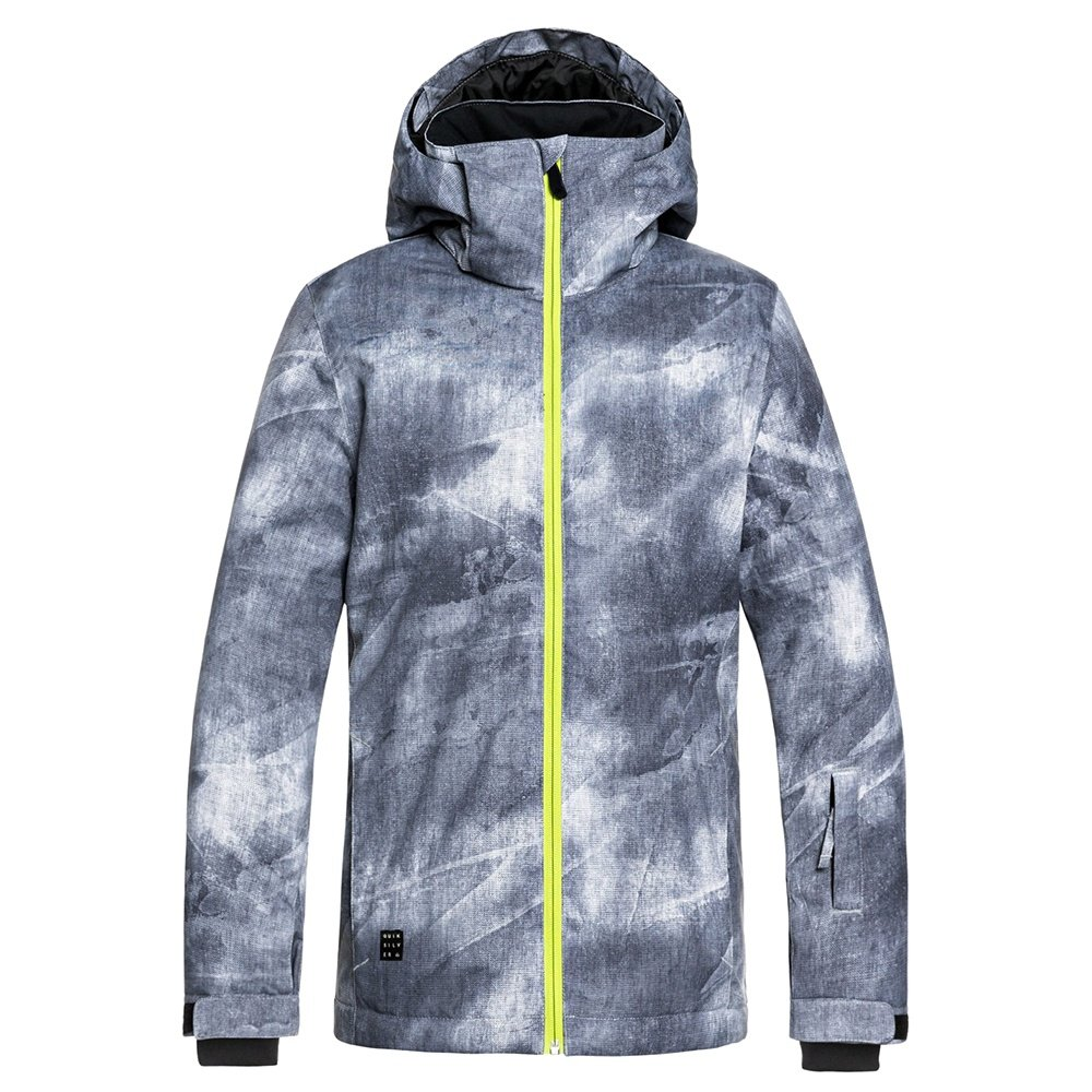 Quiksilver Mission Printed Insulated Snowboard Jacket (Boys') - Grey Simple Texture