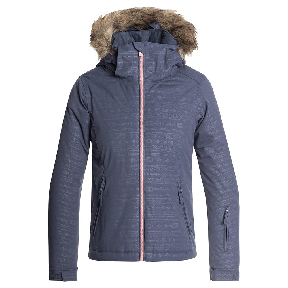 Roxy American Pie Embossed Insulated Snowboard Jacket (Girls') - Crown Blue/Indie Stripe Emboss