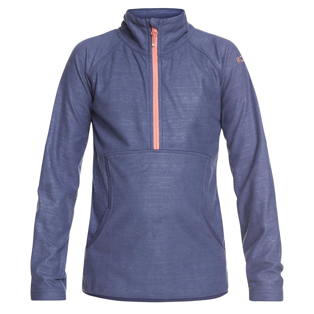 Roxy Cascade 1/2-Zip Fleece Mid-Layer (Girls') - Crown Blue/Indie Stripe Emboss