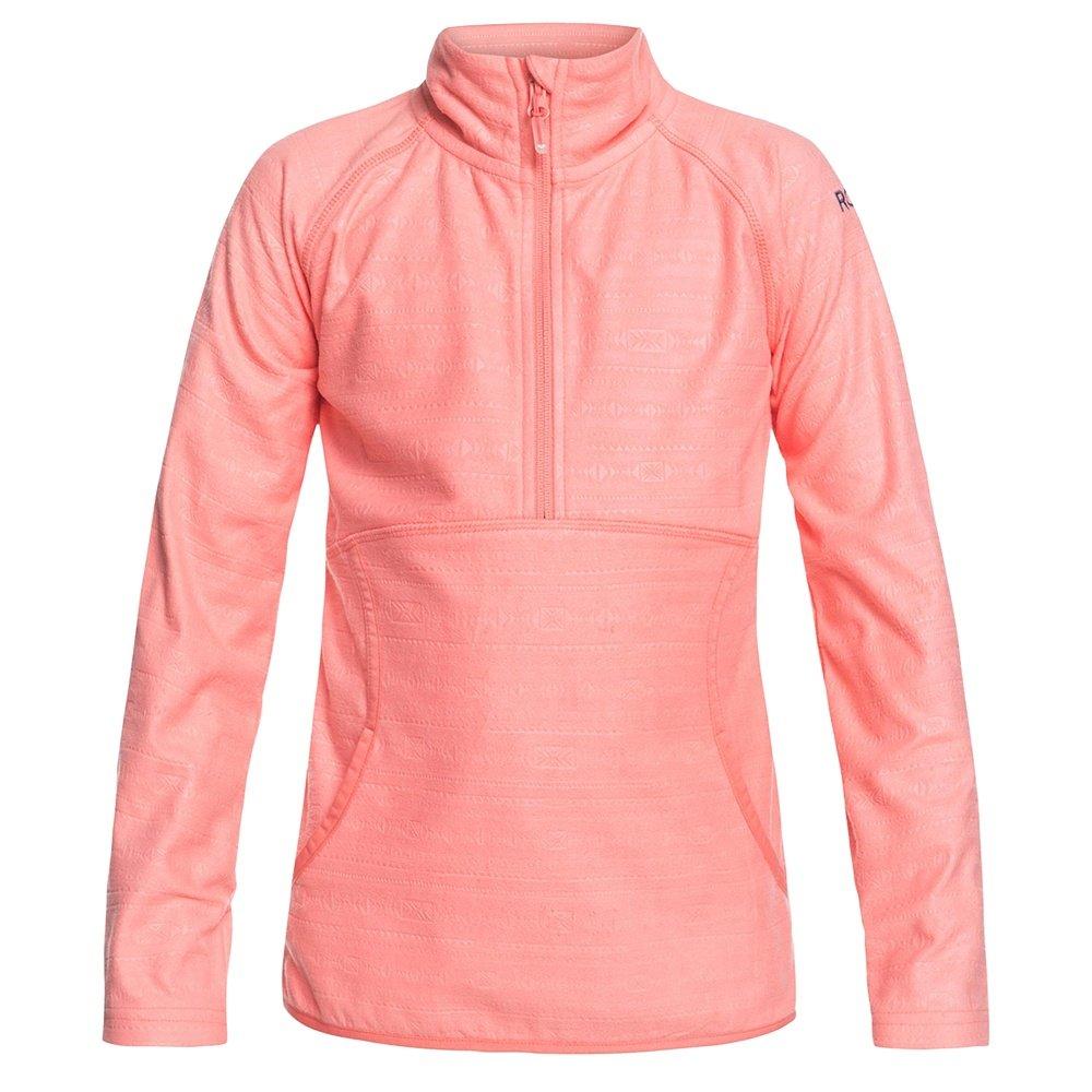 Roxy Cascade 1/2-Zip Fleece Mid-Layer (Girls') - Shell Pink/Indie Stripes Emboss