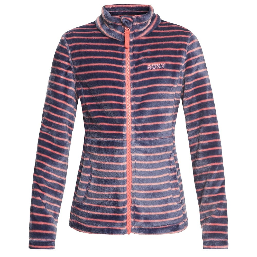 Roxy Igloo Fleece Mid-Layer (Girls') - Shell Pink/Teddy Stripes