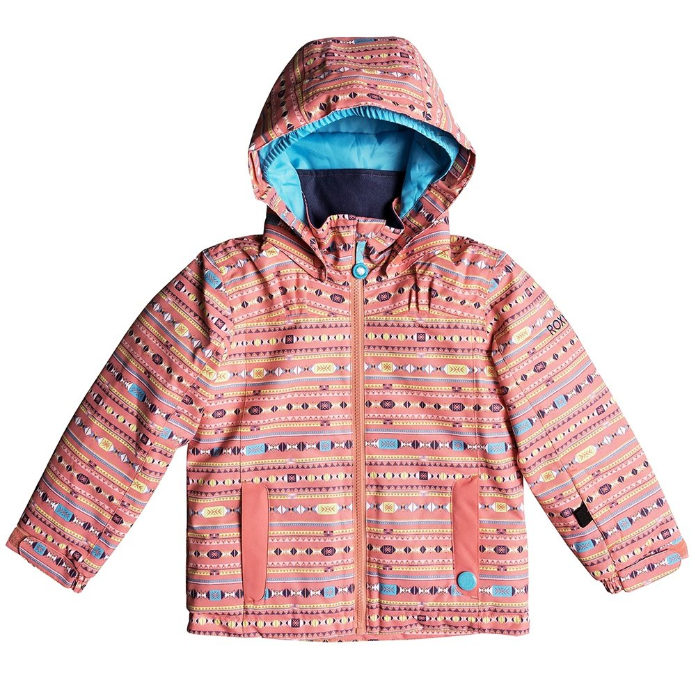 Roxy Mini Jetty Insulated Snowboard Jacket (Little Girls') - Shell Pink/Indie Stripes