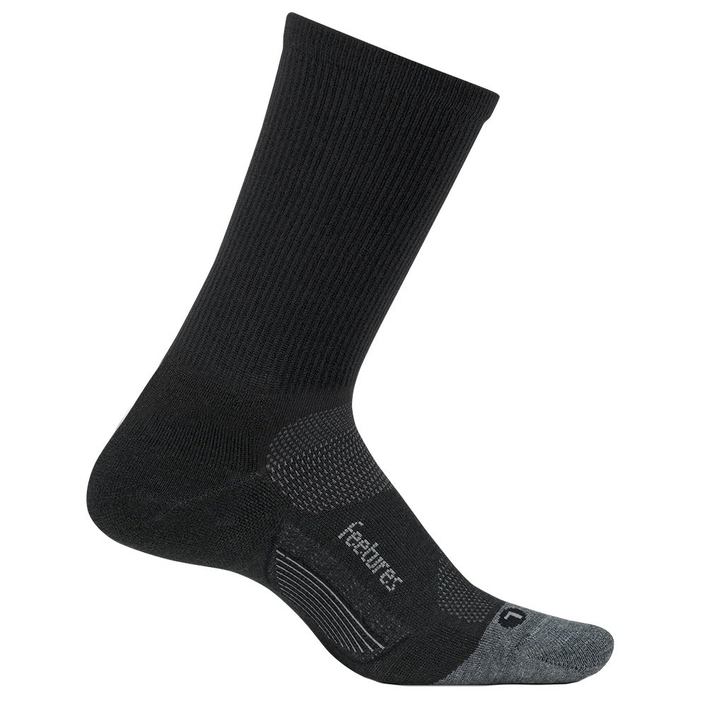Feetures Merino Cushion 10 Mini Crews Running Sock (Adults') - Charcoal/Gray