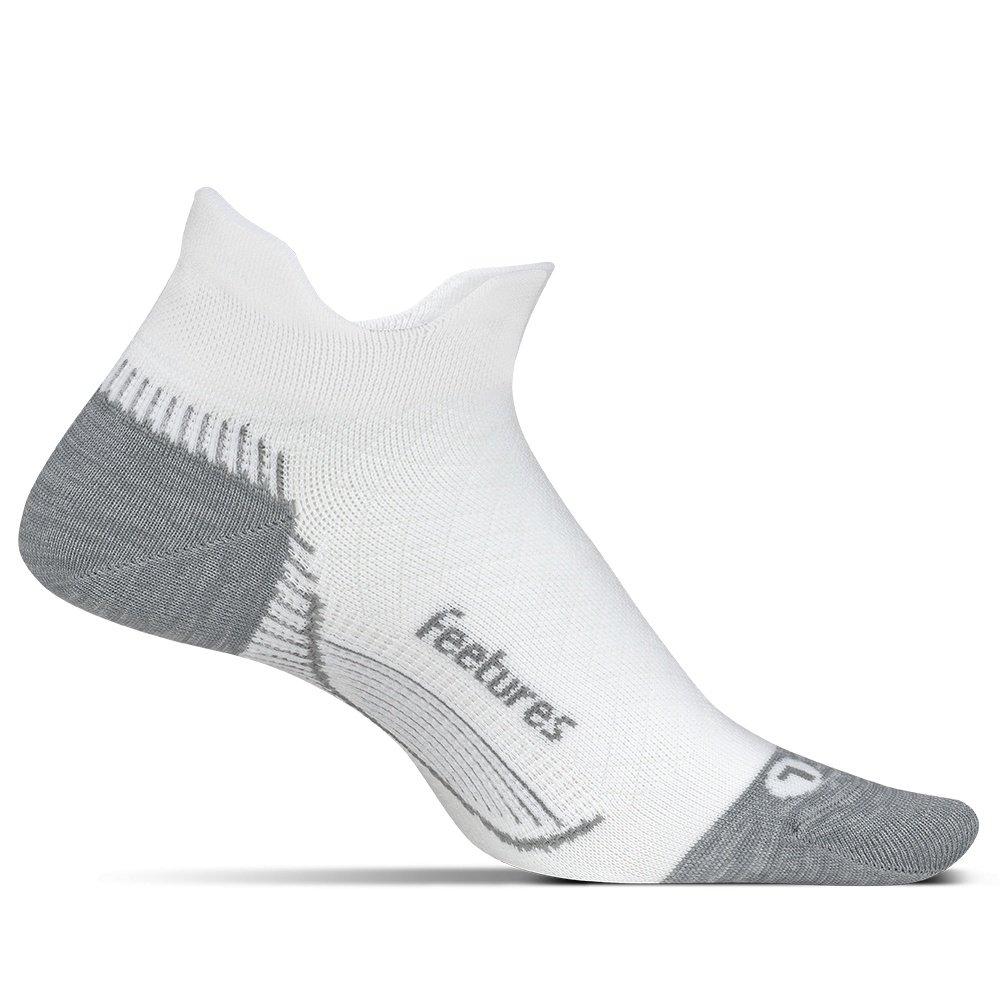 Feetures Plantar Fasciitis Cushion No Show Tab Running Sock (Adults') - White