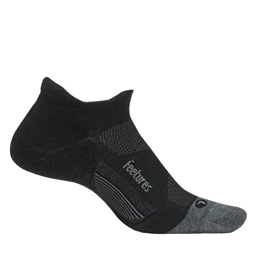 Feetures Merino 10 Ultra Light No Show Tab Running Sock (Adults') - Charcoal/Gray