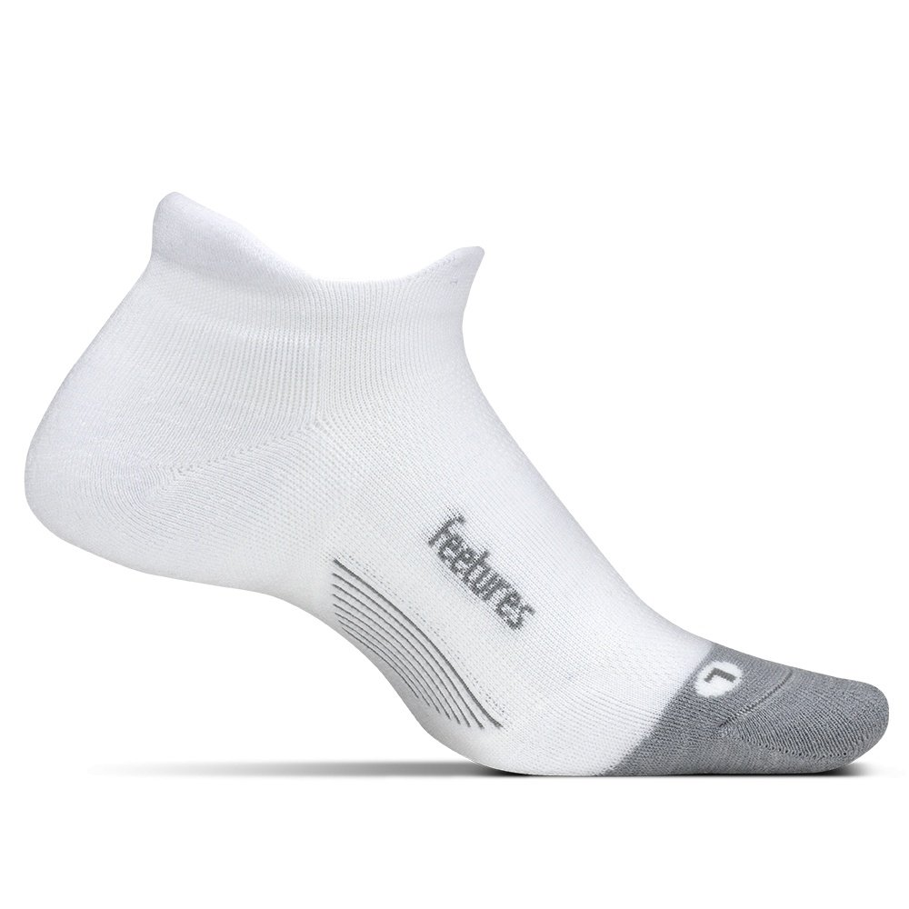 Feetures Merino 10 Ultra Light No Show Tab Running Sock (Adults') - White