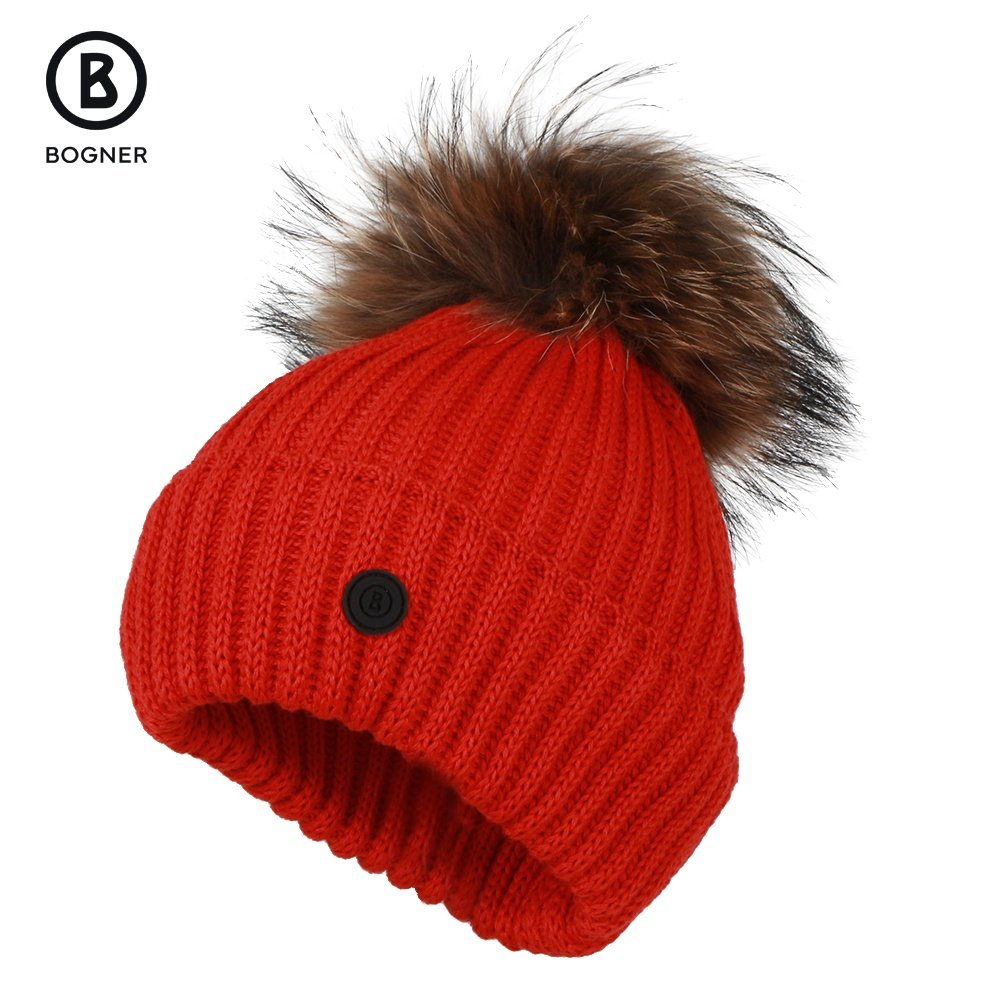 Bogner Leonie Hat with Real Fur (Women's) - Lava Red