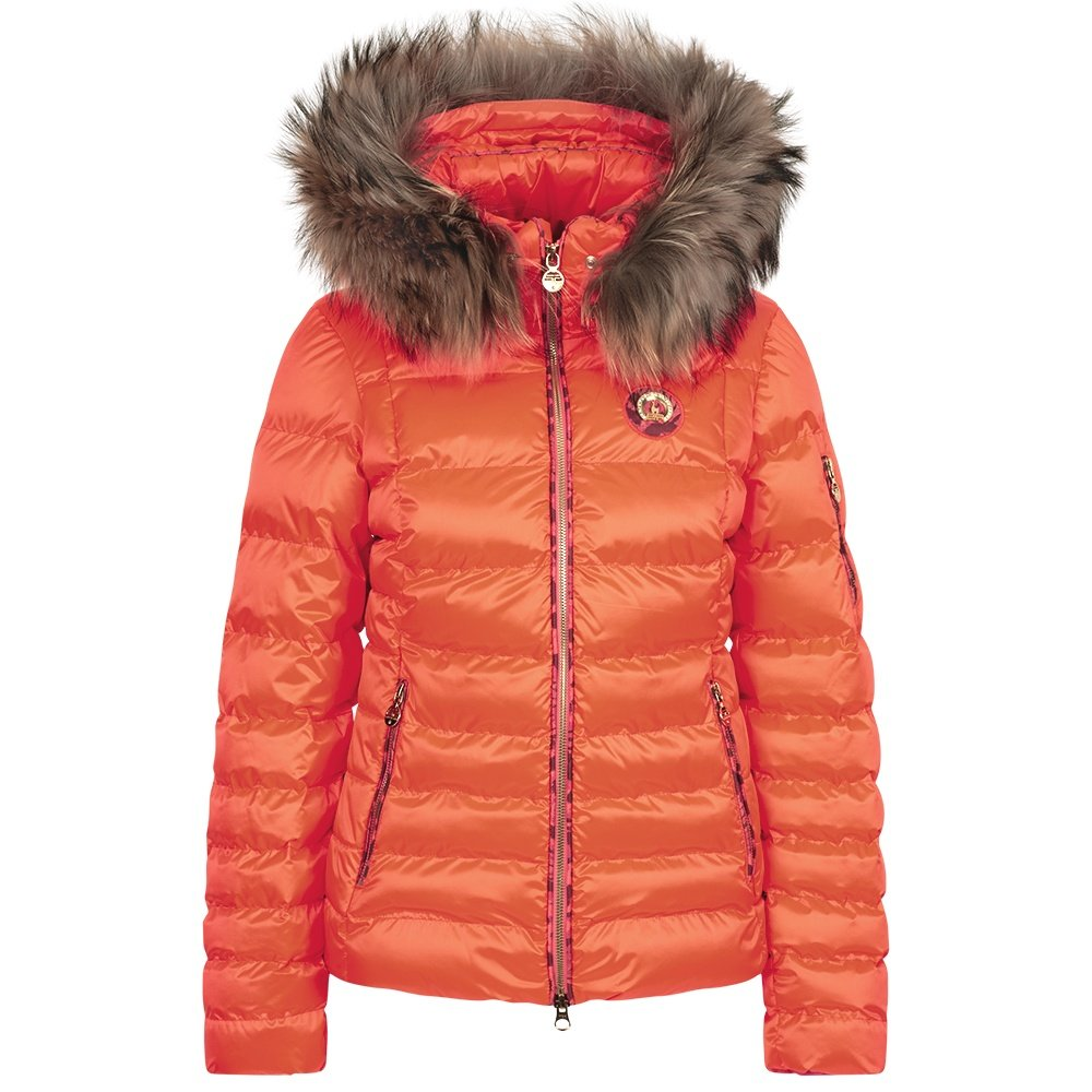 Sportalm Kyla RR Neon Down Ski Jacket with Real Fur (Women's) - Fiery Coral