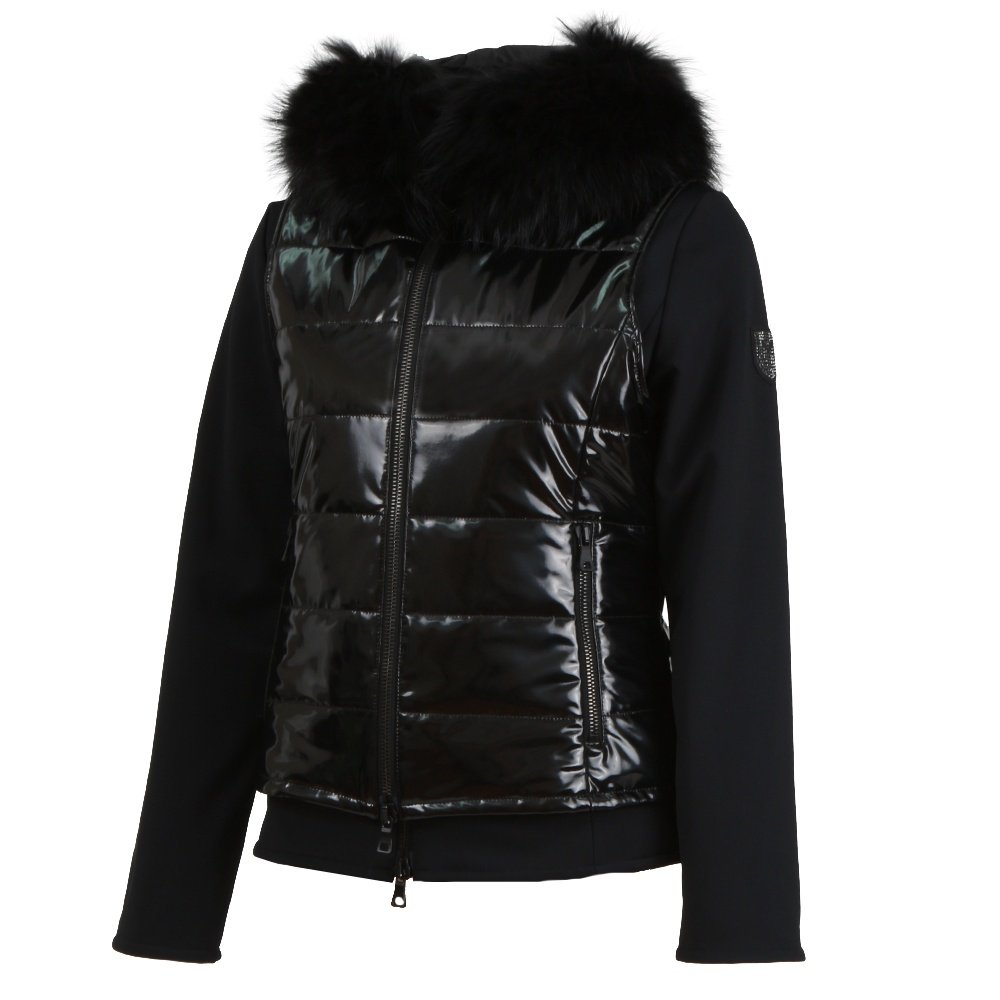 M. Miller Tobi Combo Insulated Ski Jacket with Real Fur (Women's) - Black/Black Patent