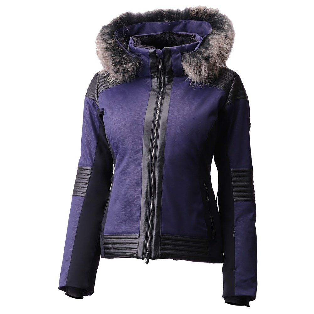 Descente Cecily Insulated Ski Jacket with Real Fur (Women's) - Dark Night Air Flow Emboss