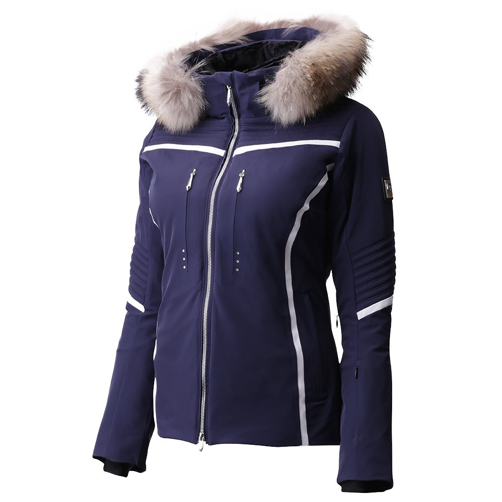 Descente Layla Insulated Ski Jacket with Real Fur (Women's) - Dark Night/Super White