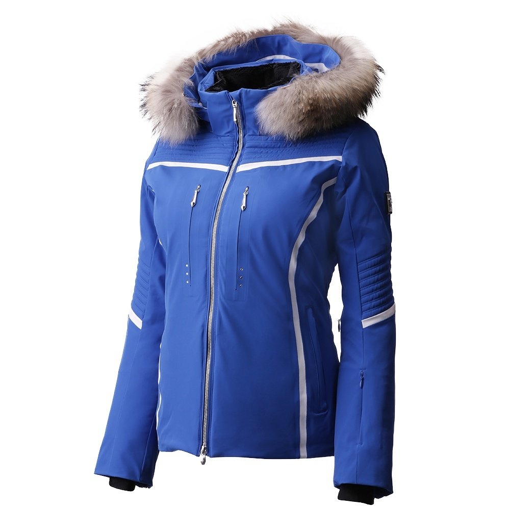 Descente Layla Insulated Ski Jacket with Real Fur (Women's) - Ocean Blue/Super White