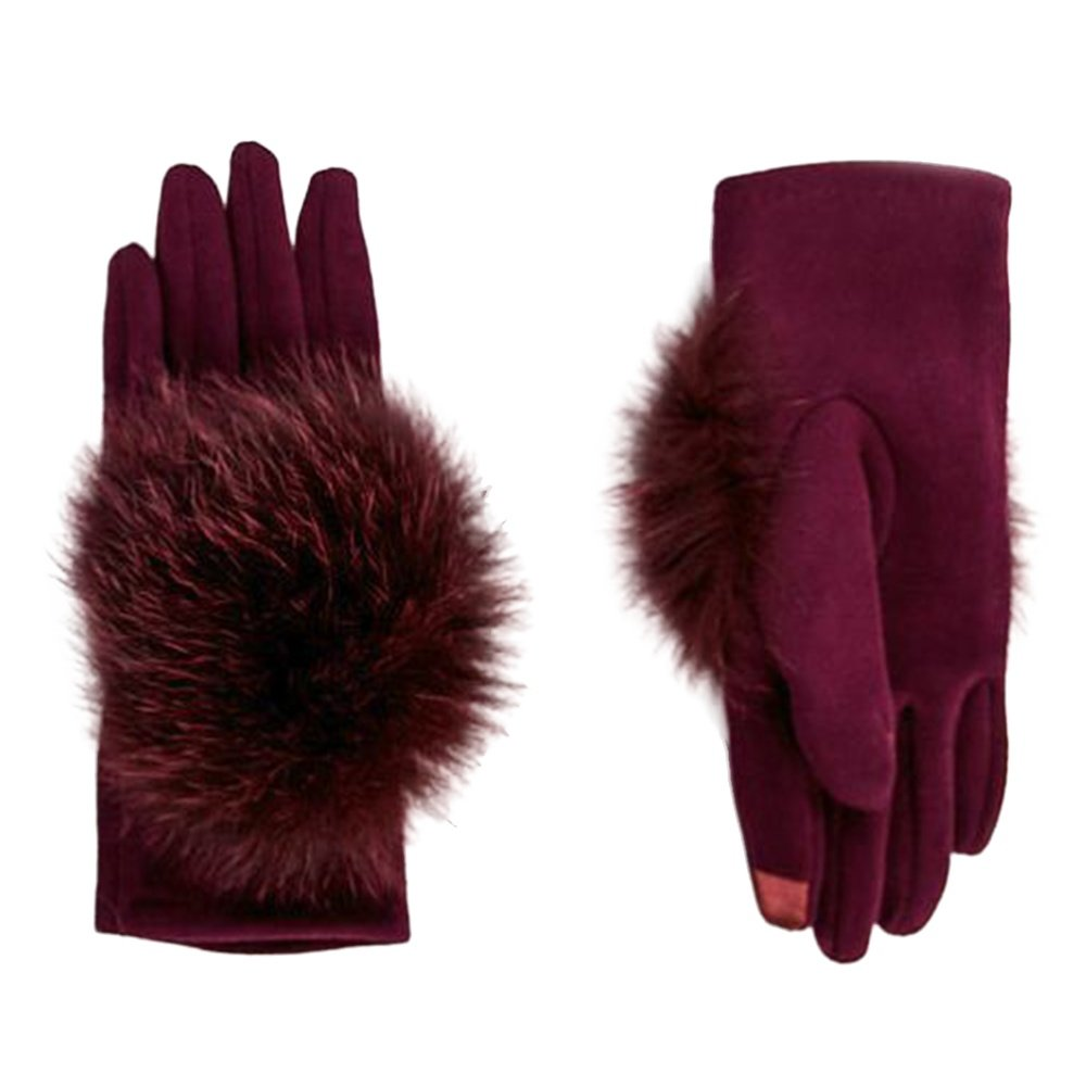 Peter Glenn Knitted Glove with Fox Fur (Women's) - Wine