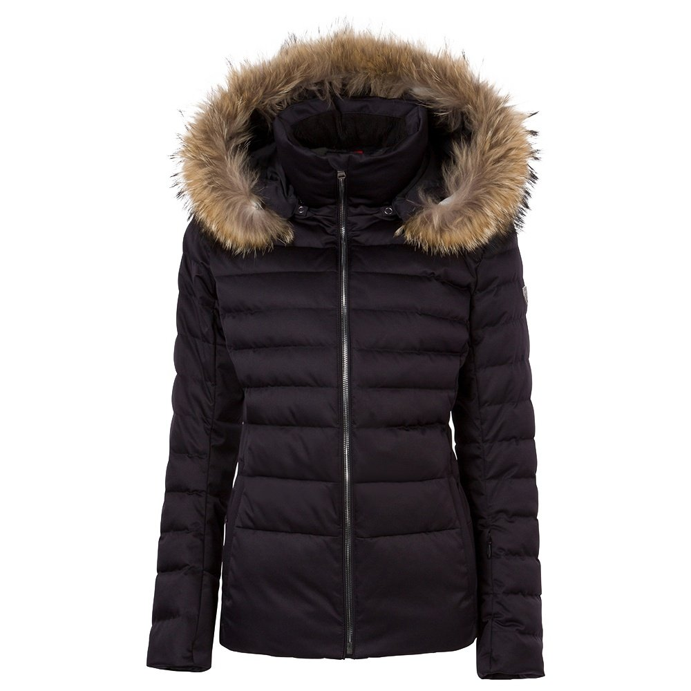 Fera Julia Down Ski Parka with Real Fur (Women's) - Black Satin