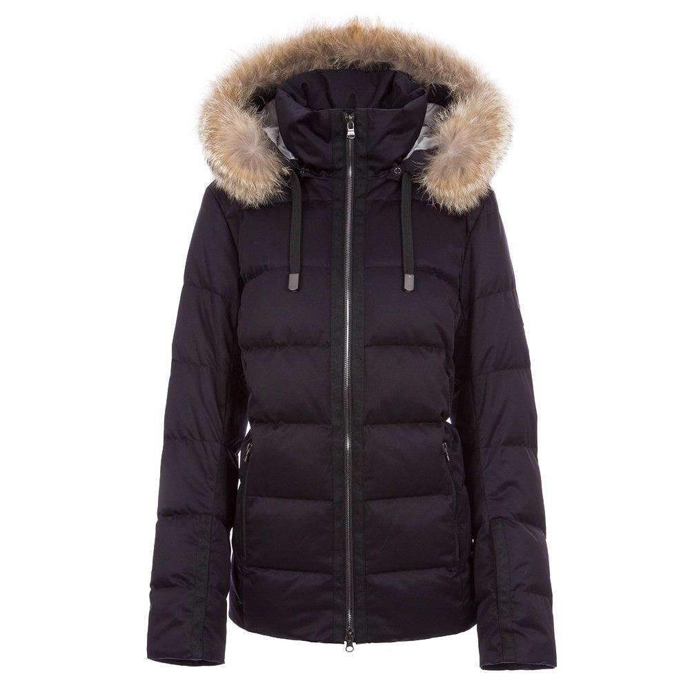 Fera Harper Down Ski Parka with Real Fur (Women's) - Black Satin