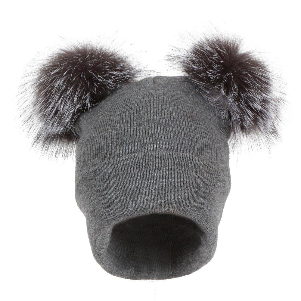 Peter Glenn Double Pom Knit Hat (Women's) - Gray/Gray Fox