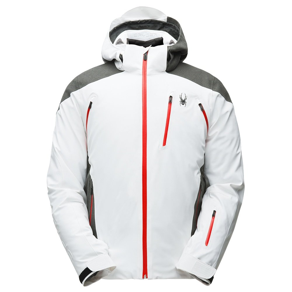 Spyder Garmisch GORE-TEX Insulated Ski Jacket (Men's) - White/Wool Blend Twill/Volcano