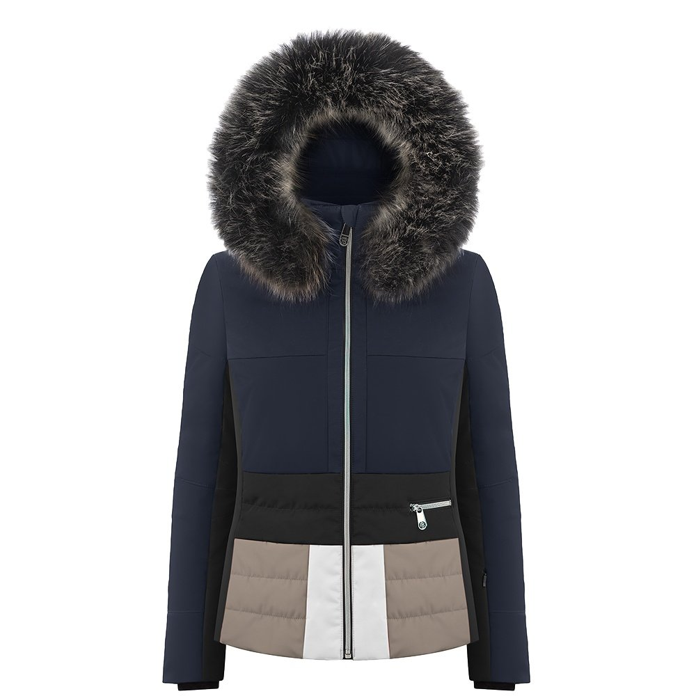 Poivre Blanc Colorblock Insulated Ski Jacket with Faux Fur (Women's) - Gothic Blue/ Multico