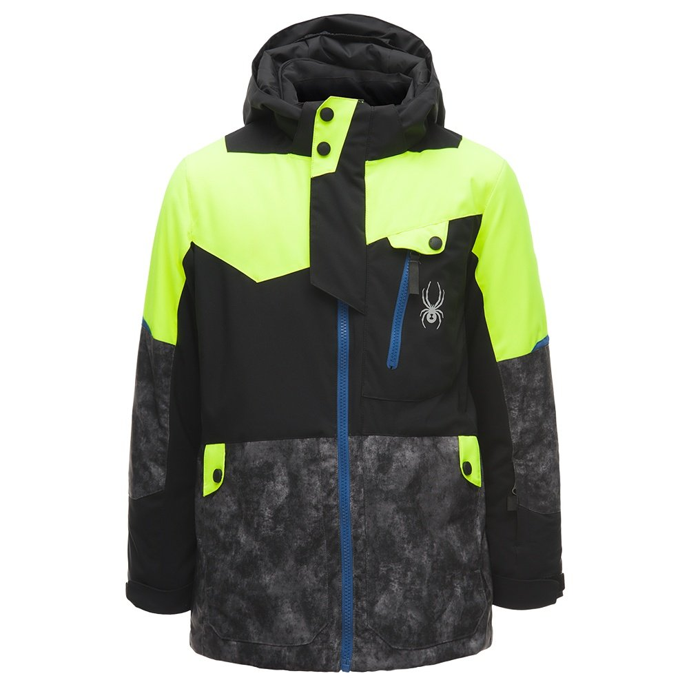 Spyder Tordrillo GORE-TEX Insulated Ski Jacket (Boys') - Black/Cloudy Tonal Distress/Bryte Yellow